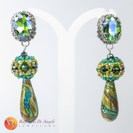 Earrings green murano Sveva 01
