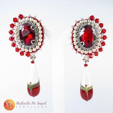 Earrings red murano Sveva 04