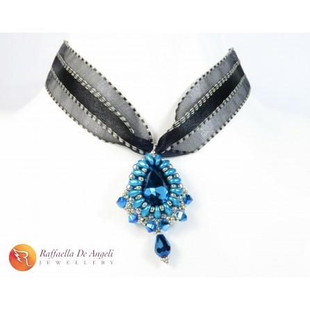 Collana ciondolo cristallo swarovski blu Carolina 04