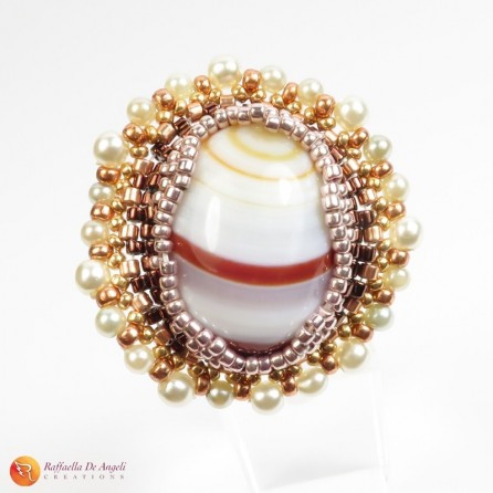 Ring brown agate peyote Rachele 02