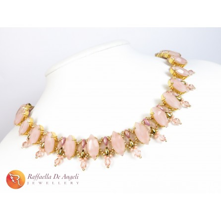 Necklace Superduo pink Grace 08