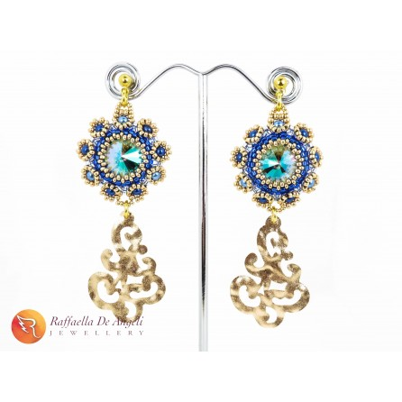 Earrings blue golden Fiamma 01