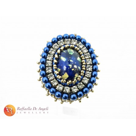 Anello perline Toho blu Vittoria 01