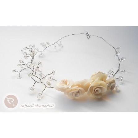 Necklace chips of rock crystal Rose 03