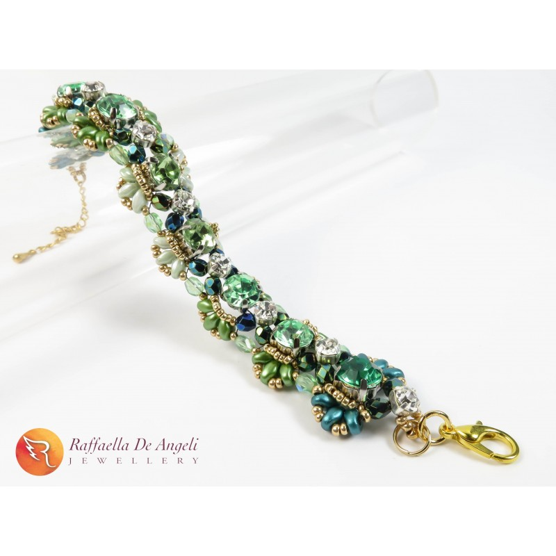 Bracelet superduo dark green Agnese 06