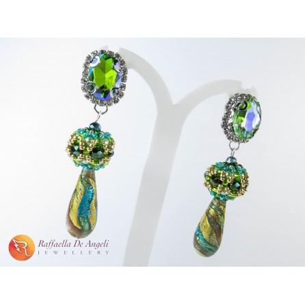 Earrings green murano Sveva 01