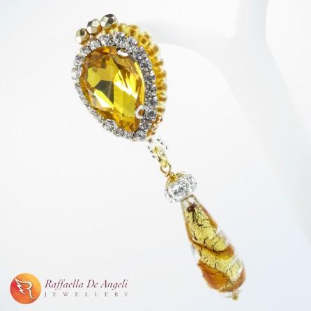Earrings yellow murano Sveva 05