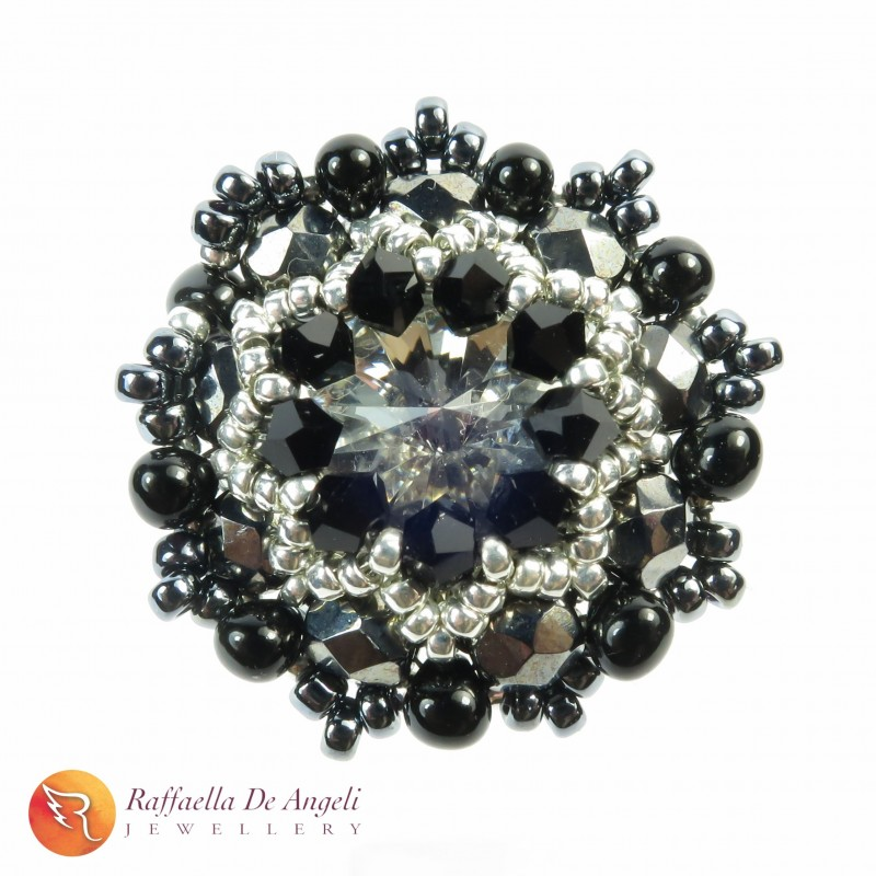 Ring crystal black Beatrice 06