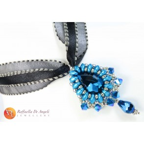 Necklace pendant crystal blue Carolina 04