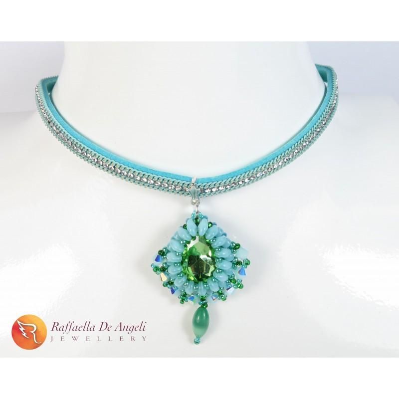 Necklace pendant crystal green swarovski Carolina 05