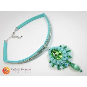 Collana ciondolo cristallo swarovski verde Carolina 05
