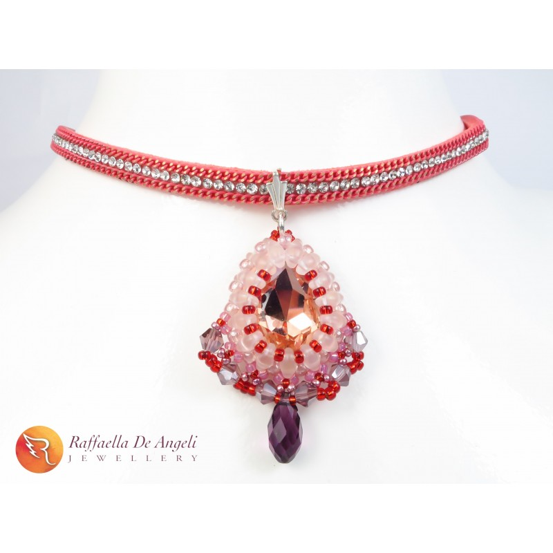 Necklace pendant pink crystal Carolina 06