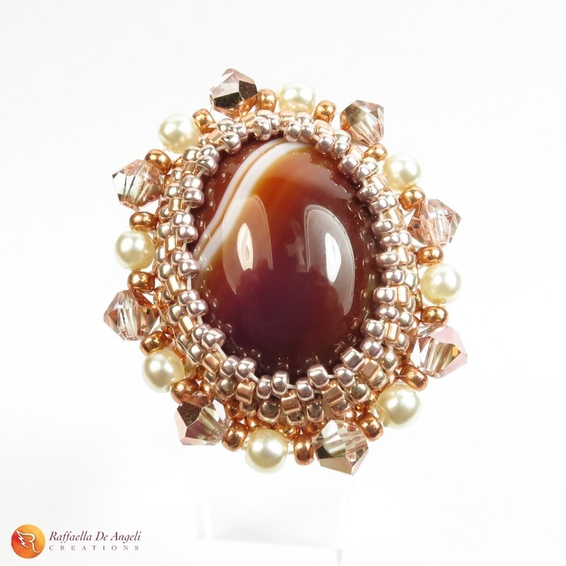 Ring brown agate peyote Rachele 01