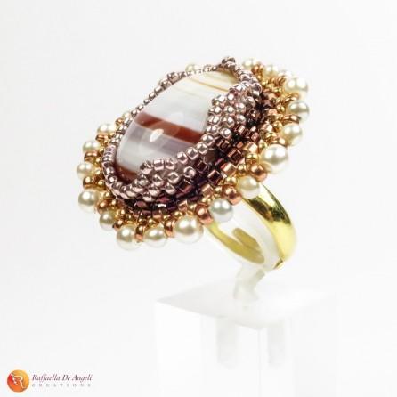 Ring brown agate peyote Rachele 02