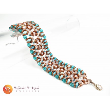 BRACELET TEAL AND COPPER Adriana 02