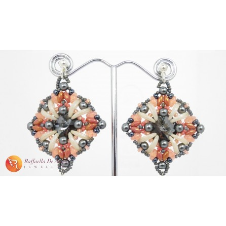 Earrings peyote ivory swarovski Barbara 03