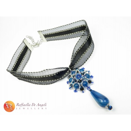 Pendant beads blue Agata