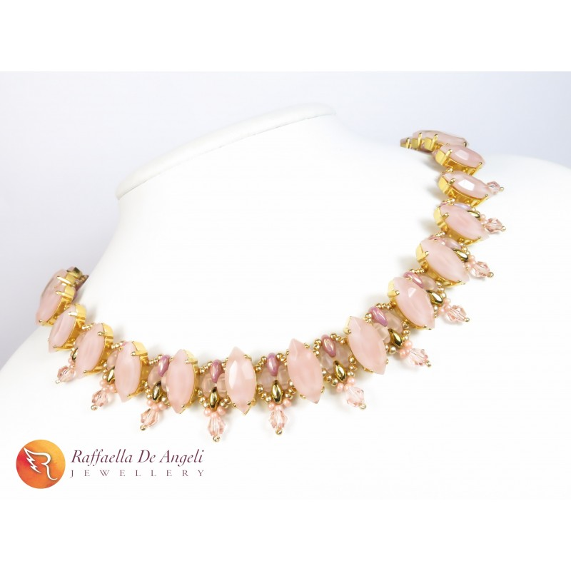 Necklace Superduo pink Grace 07
