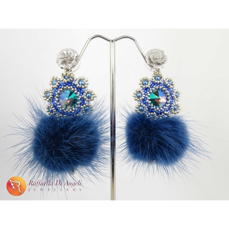 Earrings swarovski blue peyote Fiamma 03