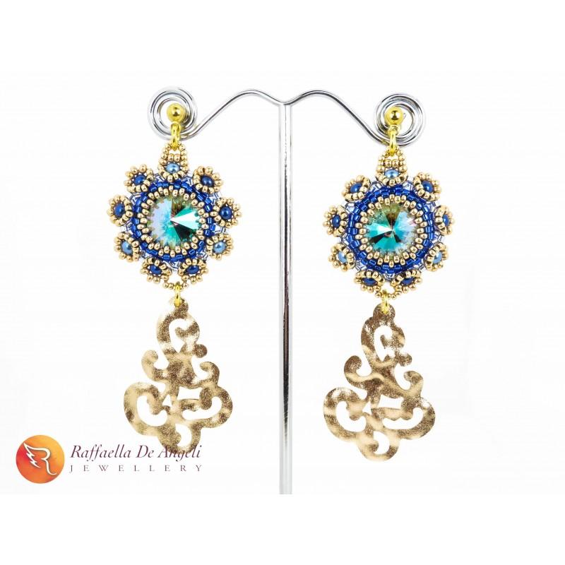 Earrings blue golden Fiamma 01