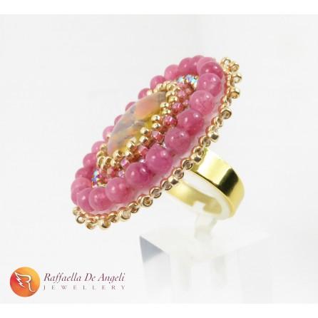 Anello rosa peyote Vittoria 04