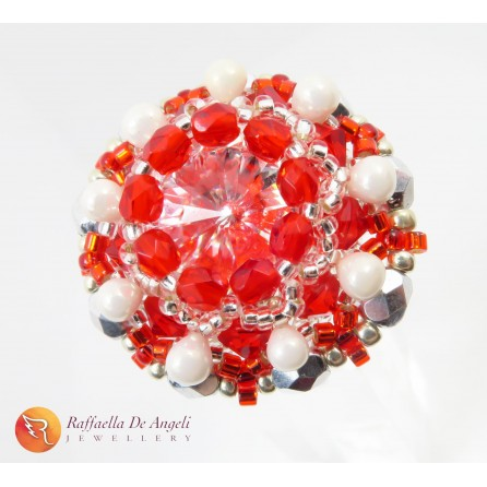 Ring crystal red Beatrice 10