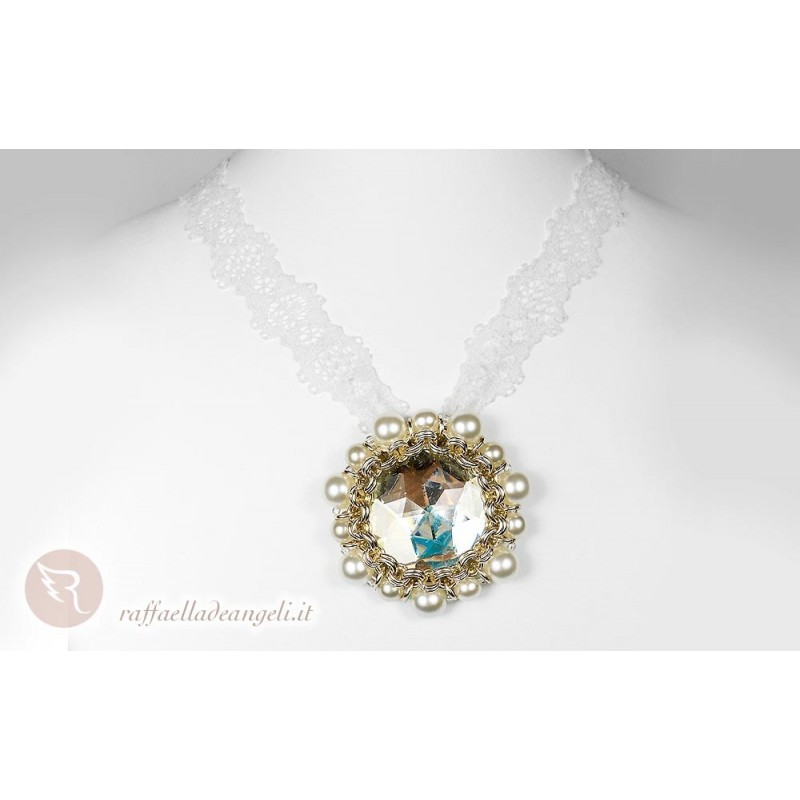 Necklace Cabochon  bohemian pearls Daniela 01