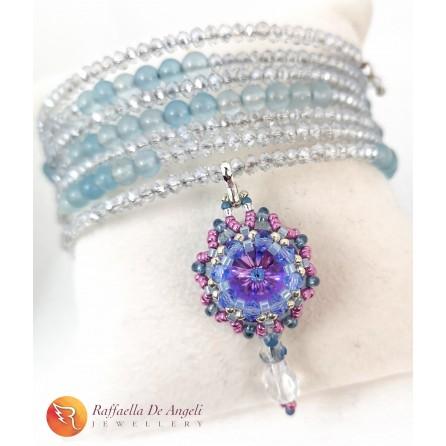 Bracciale Swarovski azzurro lilla molla armonica 5