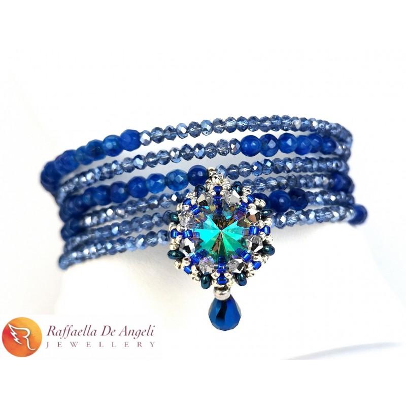 Bracciale Molla Swarovski Blu