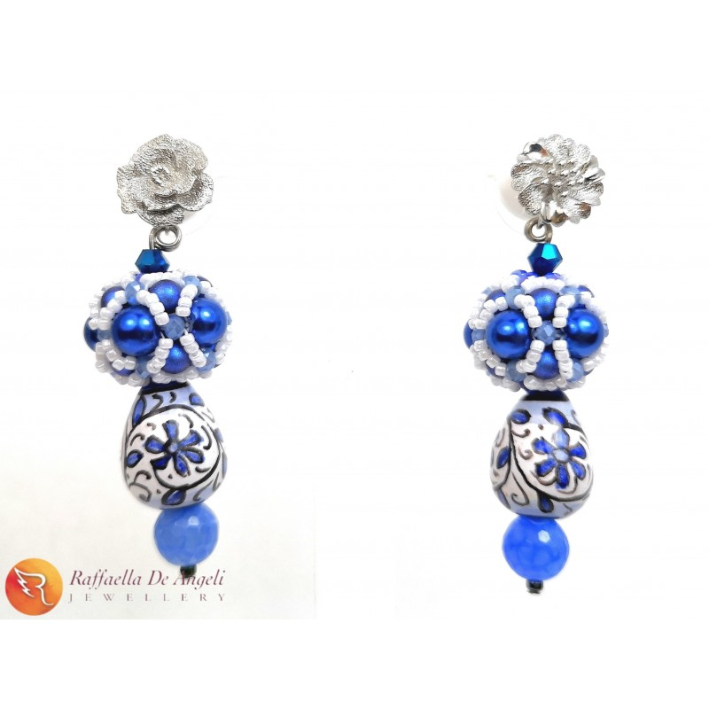 Earrings Deruta blue 14