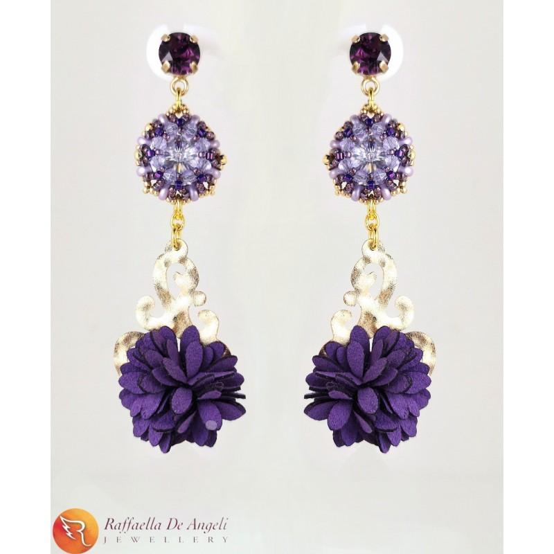 Earrings Swarovski purple 07