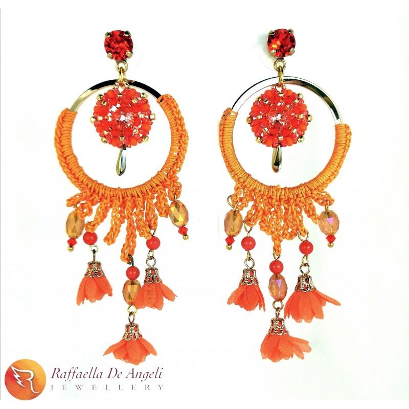 Earrings Swarovski orange 05