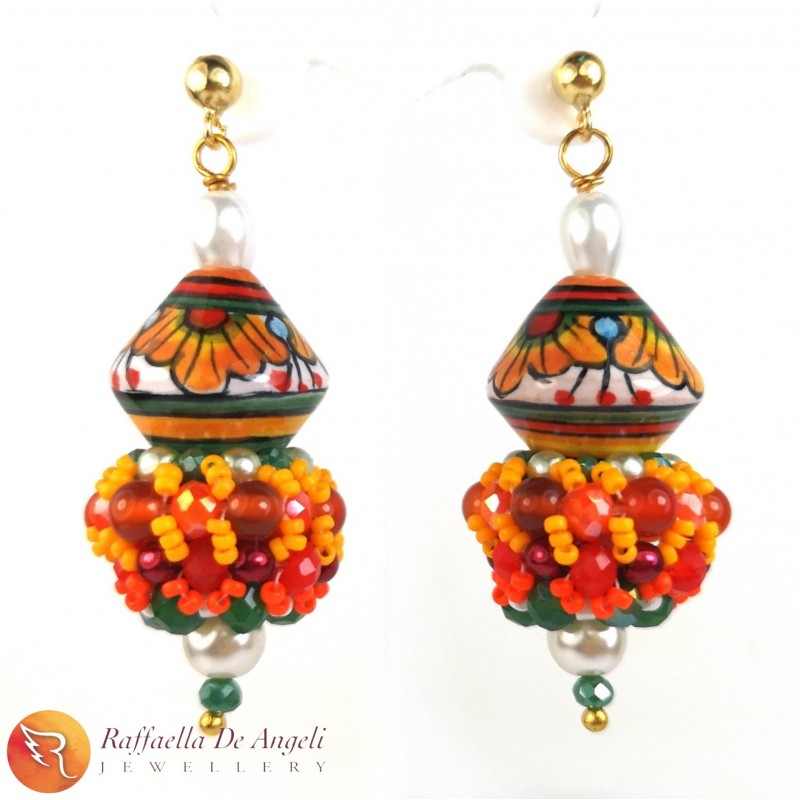 Earrings Deruta red 19