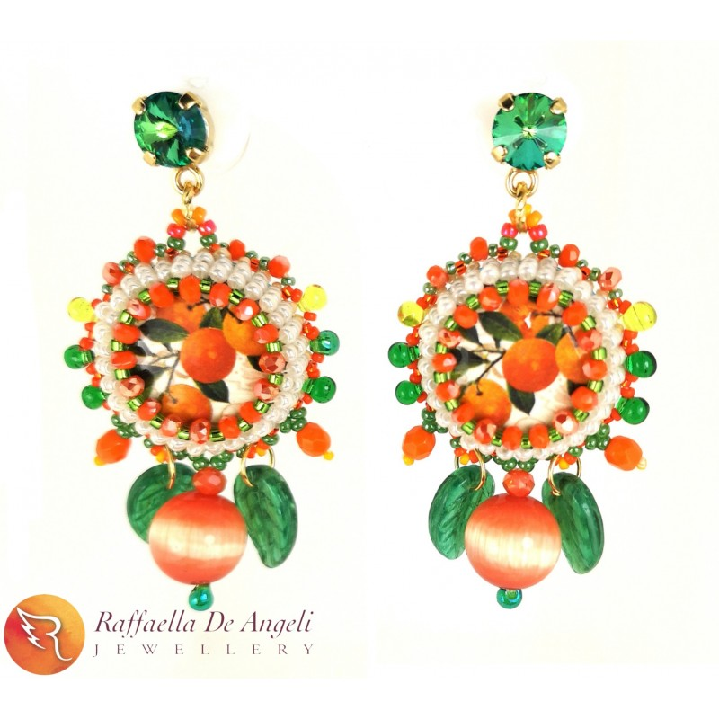 Earrings Lapilli 12 orange