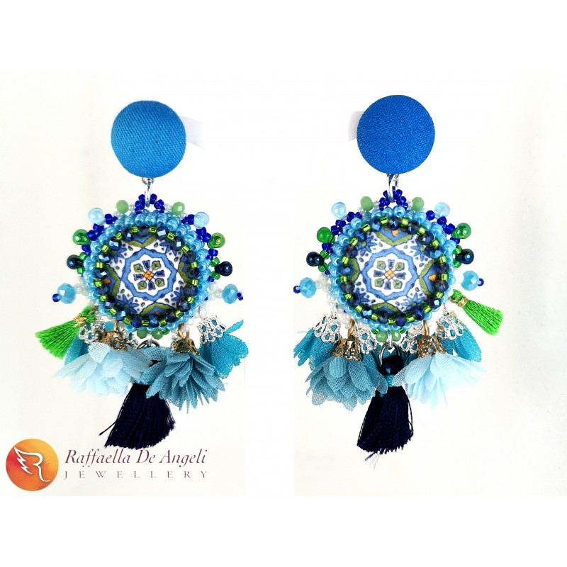 Earrings lava stone 13 blue