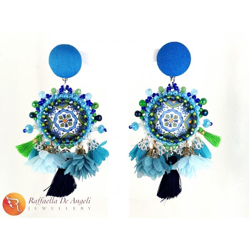 Earrings lava stone 13 blue
