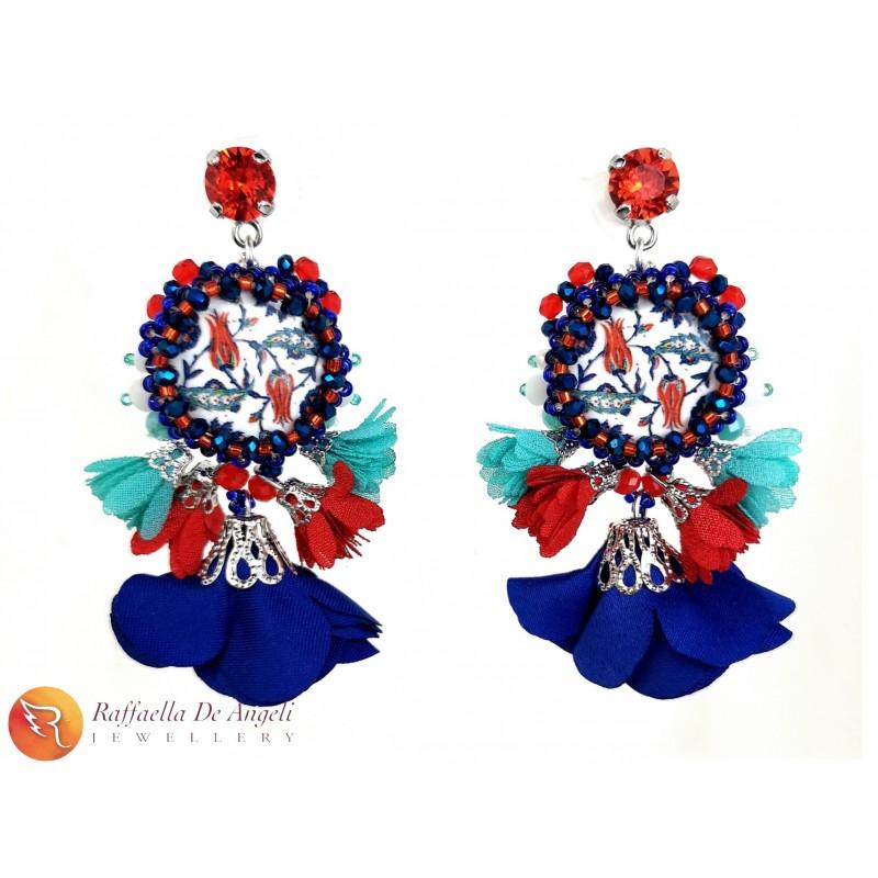 Earrings Lava stone 17 flowers
