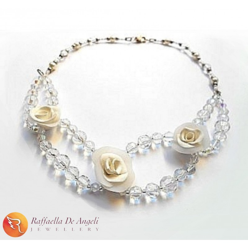 Necklace crystal Rose 01