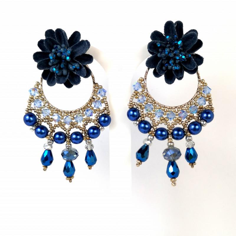 Earrings Chandelier  blue 01