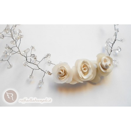 Necklace chips of rock crystal Rose 03