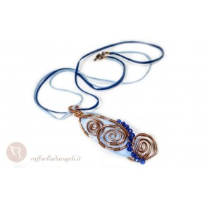 Necklace blue agate Lucia 03