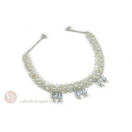 Bride necklace with crystals and Bohemia pearls Angelica 03