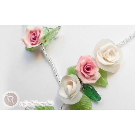 Necklace glass bead Rose 02