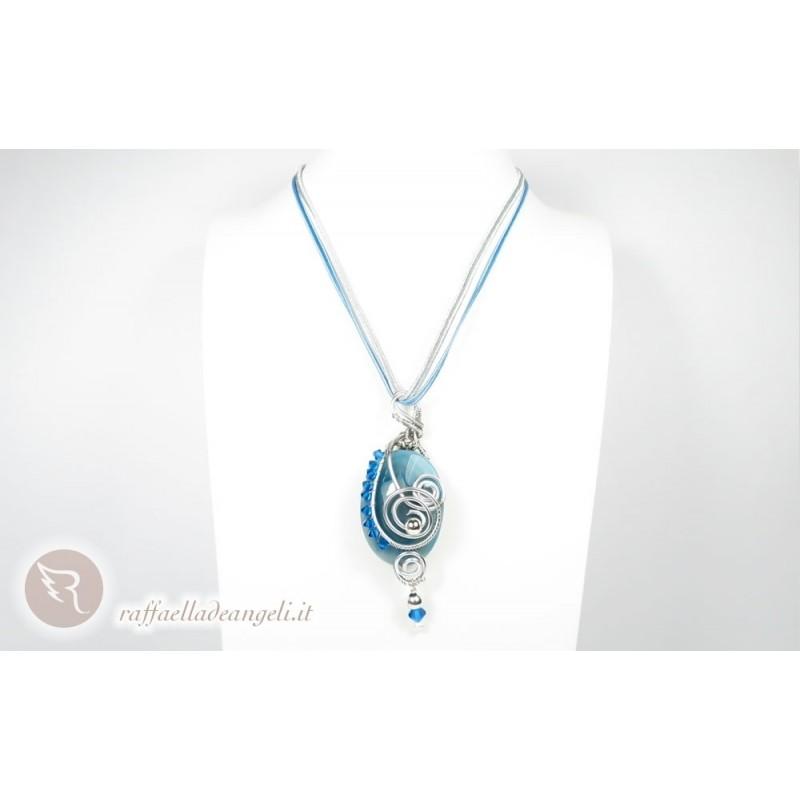 Collana Lucia 04 agata azzurra