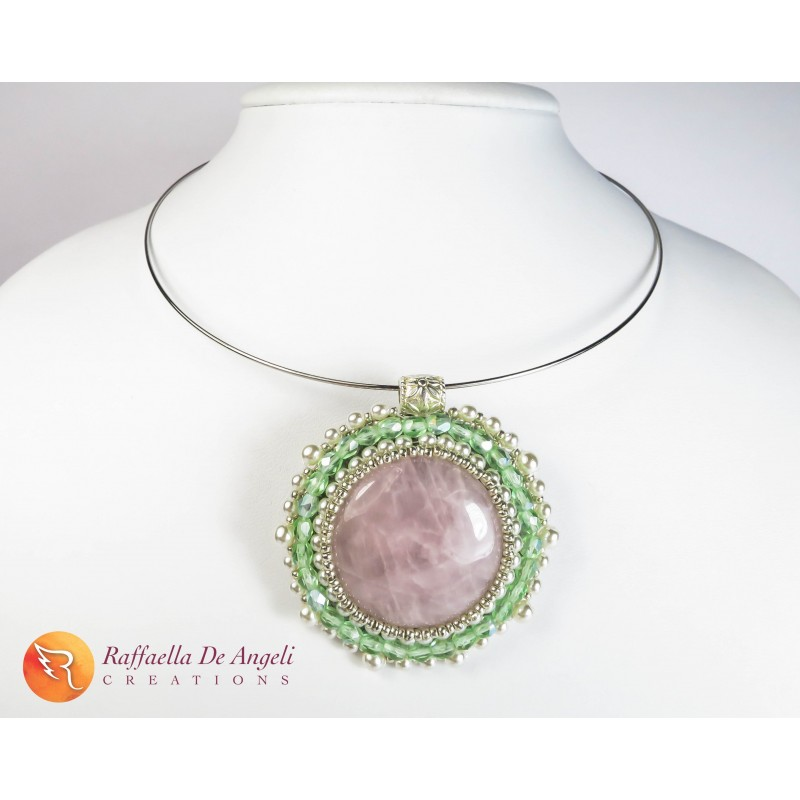 Necklace embroidery pink quartz Clarissa 06