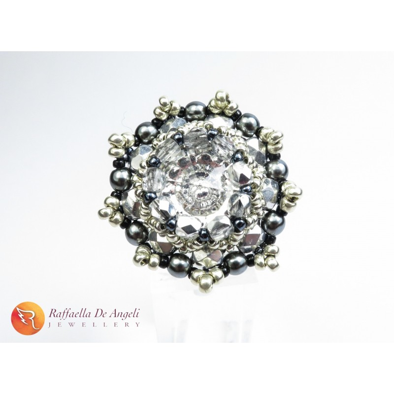 Ring grey crystal Beatrice 01